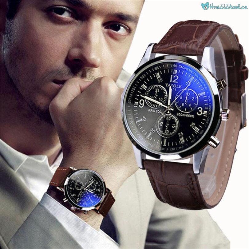 Stylové analogové pánské hodinky s koženým hnědým páskem cc4e603a53