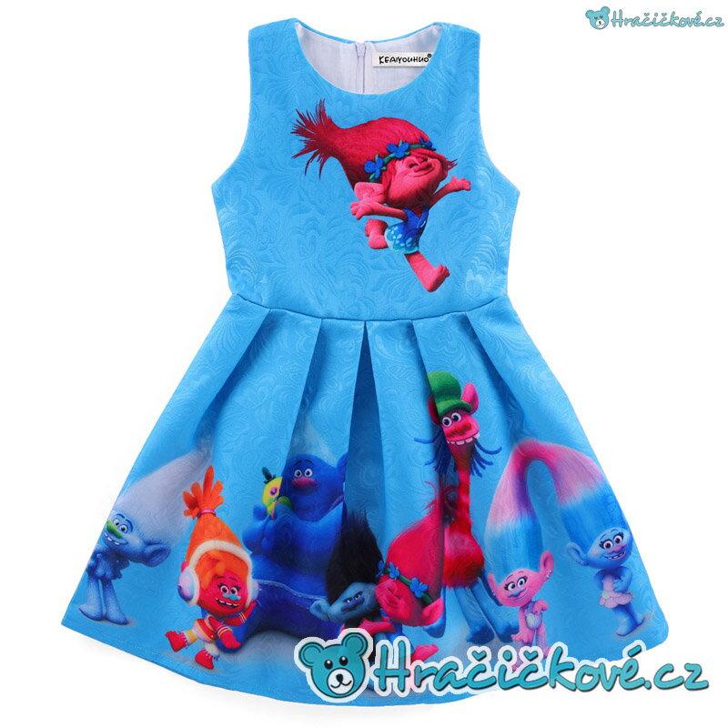 b8868053448 Krásné barevné letní dívčí šaty s motivem Trolové (Trolls) – modré
