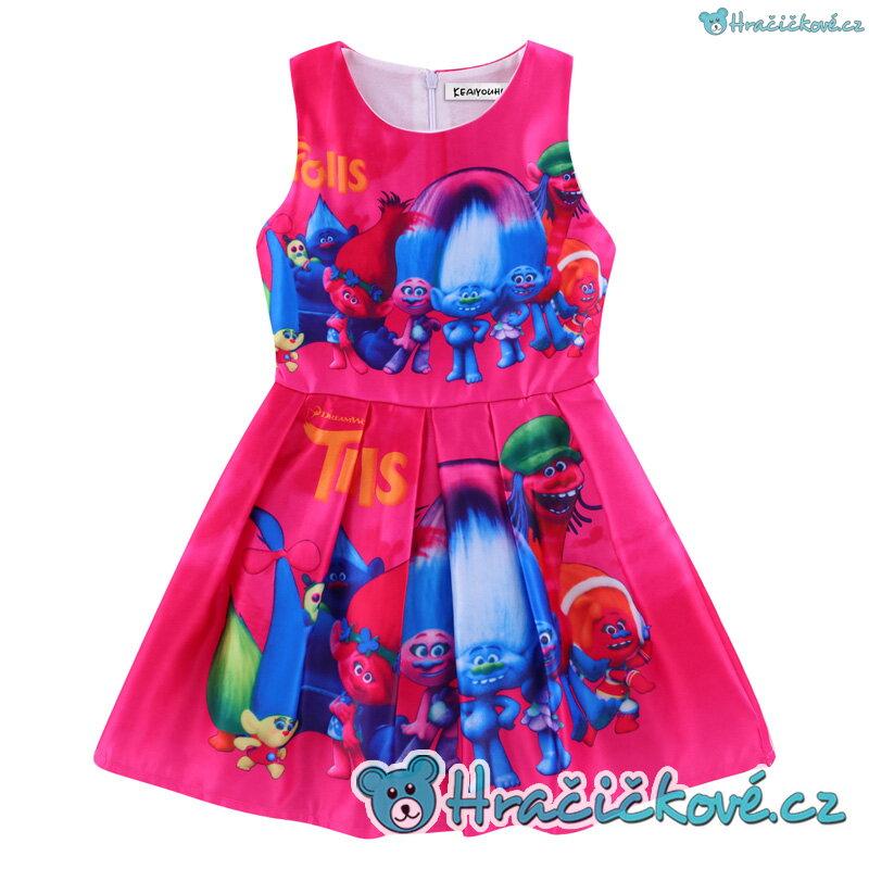 9fa8a23f057 Krásné barevné letní dívčí šaty s motivem Trolové (Trolls) – růžové
