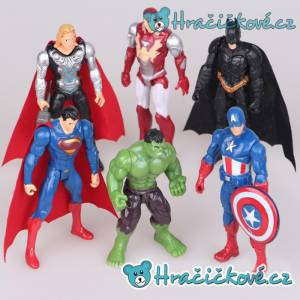 Figurky Avengers, 6 ks, Iron man, Superman, Kapitán A., Hulk, Batman, Thor