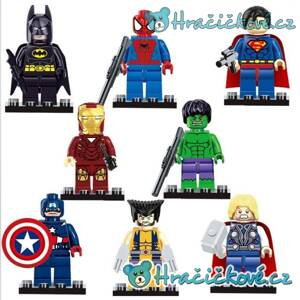 Avengers + DC 8 ks Mini figurky (stavebnice typu Lego) - Batman, Superman, Ironman, Spiderman